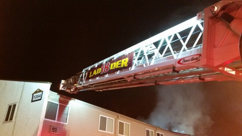 Ladder 18 Operating at fire
